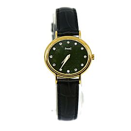 Piaget Classique Diamond Green Dial 18K Yellow Gold Watch 9802