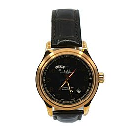 Ball Trainmaster Cleveland Dual Time 18K Rose Gold Watch GM1020D