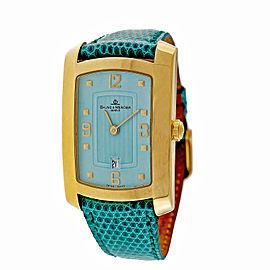 Baume & Mercier Hampton Milleis 18K Yellow Gold Blue Dial Automatic 26mm Womens Watch
