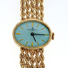 Vintage Ladies Baume & Mercier 1960 14k Gold Rope Bracelet Watch Ice Blue Dial