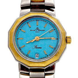 Ladies Baume & Mercier Riviera 18k Steel Watch Custom Colored Blue Dial