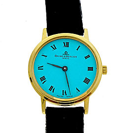 Baume & Mercier Ladies Gold Round Quartz Watch Custom Colored Turquoise Dial