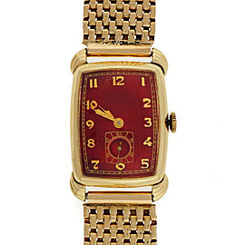 Art Deco Restored Vintage 14k Gold Bulova Custom Colored Bright Red Dial