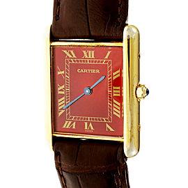 Cartier Vermeil & Leather with Quartz Red Dial 23.5mm Unisex Watch