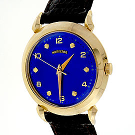 Hamilton 14K Yellow Gold Blue Dial 34mm Unisex Strap Watch 1960