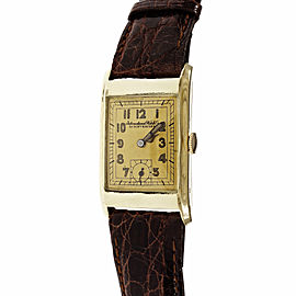 IWC Zentra 14K Yellow Gold & Leather 22mm Womens Watch 1930