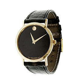 Movado Museum 14K Yellow Gold & Leather Quartz 32mm Men's Watch