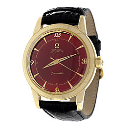 Omega Seamaster 14K Yellow Gold Automatic Red Strap 34.5mm Unisex Watch 1960