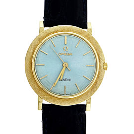 Omega 18K Yellow Gold Ice Blue Dial 34mm Unisex Wrist Watch 1950
