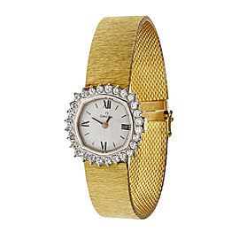 Omega 18K Yellow Gold with Diamond White Dial Manual 19mm Womens Watch
