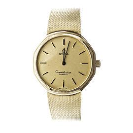 Omega Constellation 14K Yellow Gold Quartz 33mm Unisex Watch