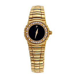 Piaget 18K Yellow Gold with Black Dial 24.6mm Womens Watch