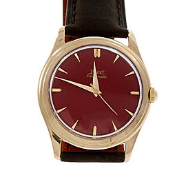 Piaget 18K Rose Gold & Leather Red Dial Automatic 35.5mm Mens Watch