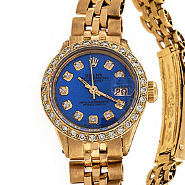 Ladies Rolex 18k Yellow Gold Datejust Custom Color Blue Dial Diamond Bezel 6517