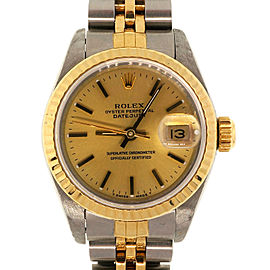Rolex Ladies 18k Gold Steel 1991 Datejust Champagne Dial 69173