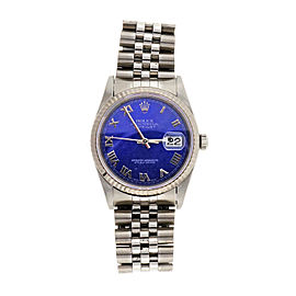 Rolex Datejust 16234 Stainless Steel Purple Blue Roman Dial Automatic 35.5mm Mens Watch 1993