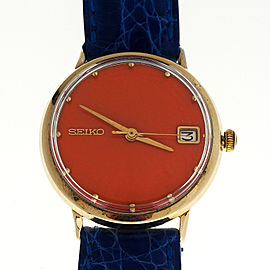 Men's 14k Gold Seiko 1960 Automatic Date Rare Orange Dial