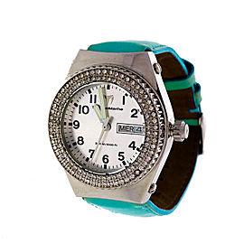 Technomarine Day Date Stainless Steel Diamond Quartz Turquoise Band Strap 35mm Womens Watch