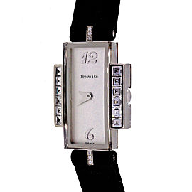 Tiffany & Co Art Deco 1990 18k White Gold Diamond Strap Watch