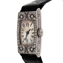 Art Deco 1920 Ladies Platinum Diamond Waltham Strap Watch