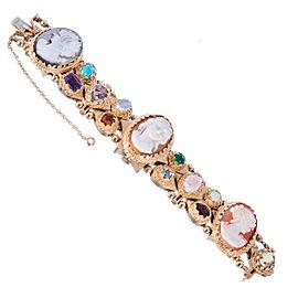14k Yellow Gold Cameo Slide Bracelet Multi Stone Watch