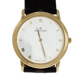 Blancpain 1081 18K Yellow Gold & 21K White Gold with Leather Automatic 33mm Mens Watch