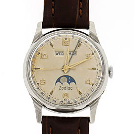 Zodiac Moon Phase Day Date Month 33mm Unisex Vintage Watch 1960