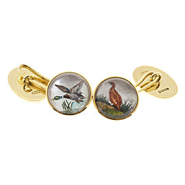 18k Yellow Gold Carved Crystal Duck Pheasant Cuff Links