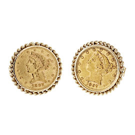 14k Yellow Gold Vintage 1897 US Gold Coin Liberty Head Cuff Links