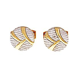 Platinum and 18k Yellow Gold Round Button Style Cuff Links