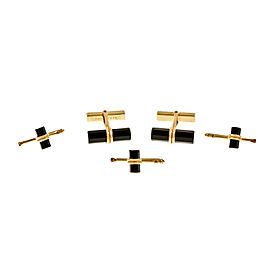 14K Yellow Gold Onyx Cufflinks