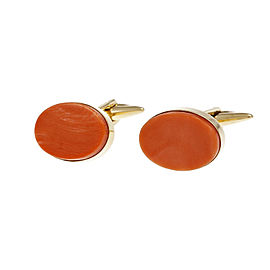 18k Yellow Gold Pink Orange Coral Cuff Links 1960