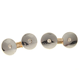 14k Rose Gold Platinum Old European Cut Diamond Double Sided Cuff Links