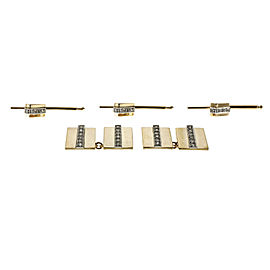 14k Yellow Gold Diamond Vintage Geometric Cuff Link Shirt Stud Set