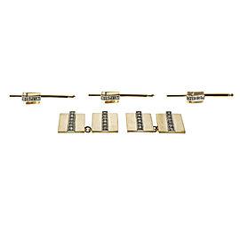 14k Yellow Gold Diamond Vintage Geometric Cuff Link Shirt Stud Set