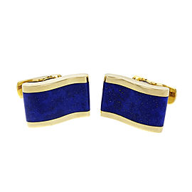 18k Yellow Gold Blue Lapis Wave Design Cuff Links