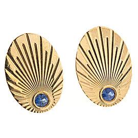 14k Yellow Gold Sapphire Vintage Cuff Links