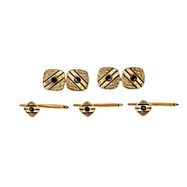 14k Yellow Gold Sapphire Art Deco Cuff Link Shirt Stud Dress Set