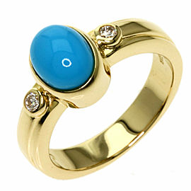 TASAKI 18K Yellow Gold Turquoise 2P Diamond Ring TNN-2030