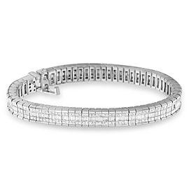 14K White Gold 7 7/8 CTTW Princess and Baguette Diamond Eternity Bracelet