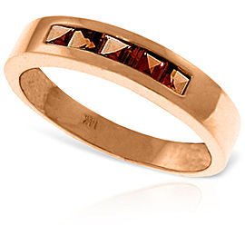 14K Solid Rose Gold Rings with Natural Garnets