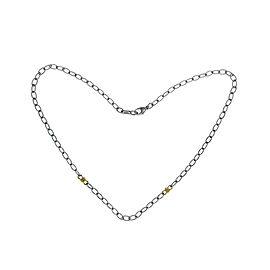Judith Ripka 925 Sterling Silver & 18K Gold Link Chain Necklace