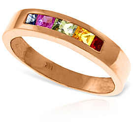 14K Solid Rose Gold Rings with Natural Multicolor Sapphires