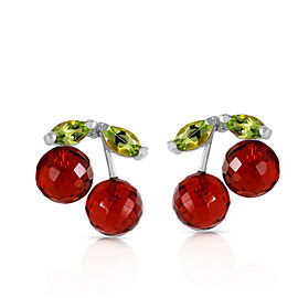 2.9 CTW 14K Solid White Gold Earrings Garnet Peridot