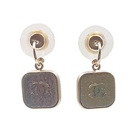 Chanel Gold CC Leather Square Hoop Piercing Earrings