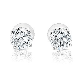 1.25 Carat Diamond Stud Earrings in HI color I2 Clarity in 14K White Gold