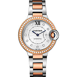 Cartier Ballon Bleu WE902077 Stainless Steel & 18K Rose Gold with Silver Diamond Dial 33mm Womens Watch