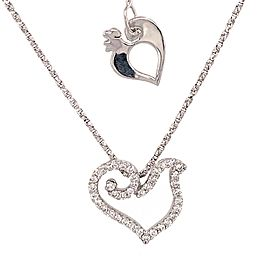 18k White Gold Dove Diamond Pendant Necklace