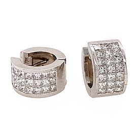 Princess Cut Huggie Earrings 18k White Gold