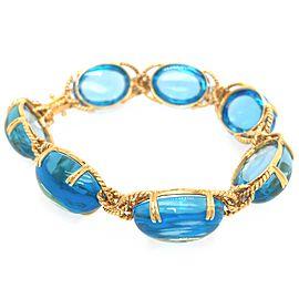 18k Yellow Gold Swiss Blue Topaz Bracelet